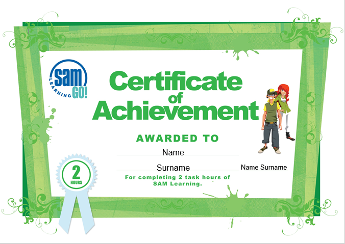 Learner certificates of achievement – SAM Learning